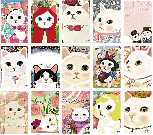 Vintage postcard Cute toy Cats cartoon Postcards Christmas Card/Greeting Card/ Postcard Gift 48pcs/set 5set/lot(China (Mainland))