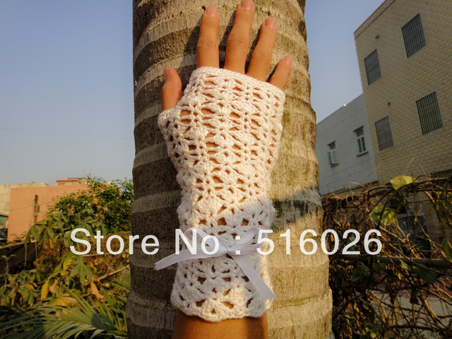 CROCHET Bridal Fingerless Gloves with lace amazing crochet accessories 2pair/lot