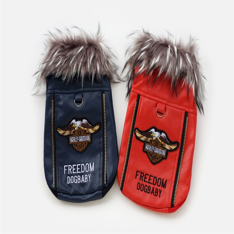 Promotion Brand PU Leather Dog Jacket Fall And Winter Red Fashion Cool Freedom Eagle Fur Collar Puppy Outwear For Pet Products(China (Mainland))
