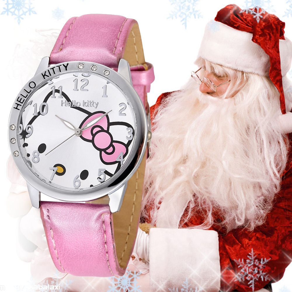 Holiday Sale New Arrival Cheap Lovely Girl Hello Kitty Women Watch Children Kids Crystal PU Leather Wrist For Christmas Gift(China (Mainland))