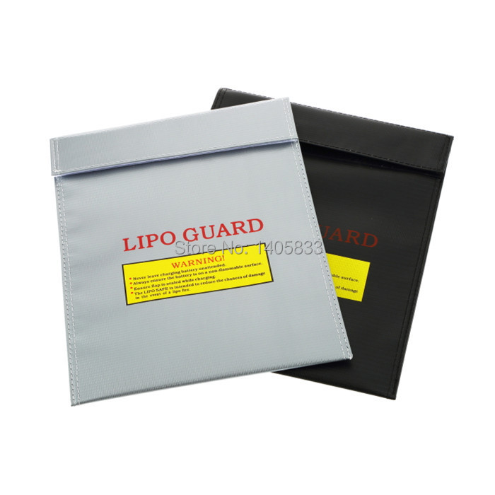 10pcs RC Lipo Battery Fireproof Safety Guard Safe Charge Bag Charging Sack 18x23cm Black / Silver<br><br>Aliexpress