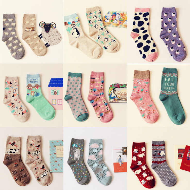 Brand Caramella Autumn Winter Character Cartoon Series Women Cotton Socks For Female Sweet Cute Long Socks 2014 New Arrival(China (Mainland))