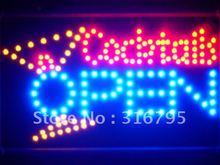led134-b Cocktails OPEN Bar Led Neon Sign WhiteBoard(China (Mainland))