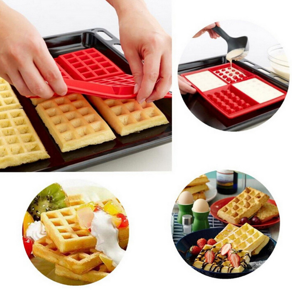 4 Cavities Waffles Cake Chocolate Pan Baking Silicone Mold Cooking Tools Kitchen Accessories Easy and Safe to Administer(China (Mainland))