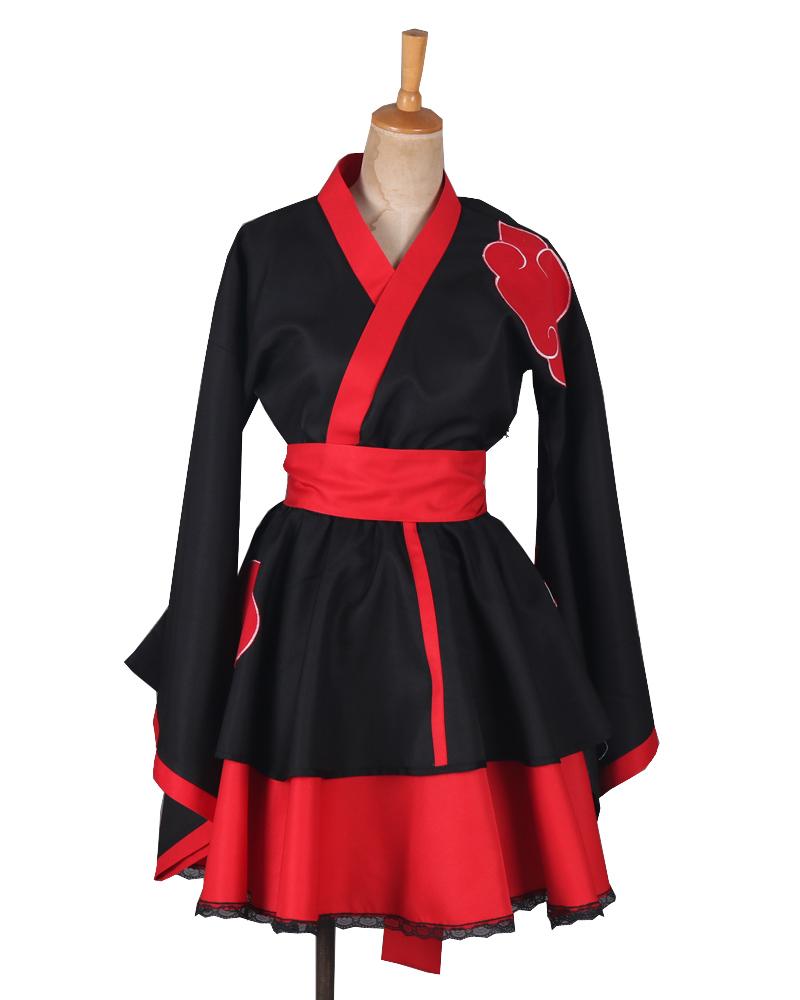 Free Shipping Naruto Shippuden Akatsuki Organization Female Lolita Kimono Dress Anime Cosplay Costume(China (Mainland))