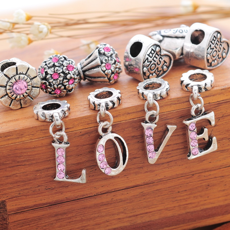 European Style 1Set(12PCs) Fixed Mixed LOVE Heart Flower Charm Beads Pink Rhinestone Fit DIY Charm Bracelets(China (Mainland))