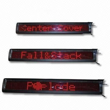 7*95 pixel indoor-used red color P7.62mm led moving sign;768mm*98mm*35mm