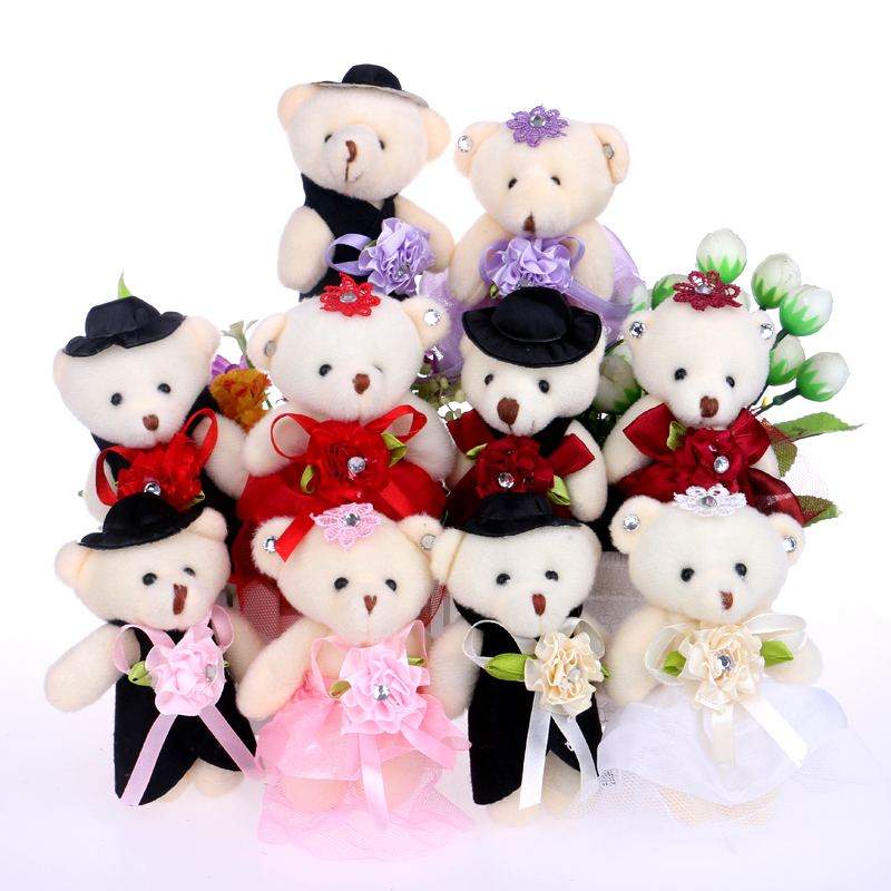 Lover's teddy bear wedding accessory decoration home plush toys mix color for flower bouquets bear Christmas gift(China (Mainland))