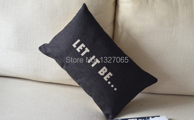 "Black LET IT BE Pattern Linen Throw Pillow Case Sofa Cushion Cover Sham 20""x 12""(China (Mainland))"