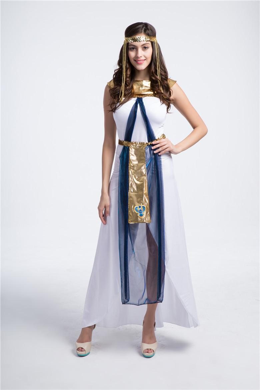 Greek goddess dress HOT sale Halloween costume clothing greek goddess the queen of Egypt women white dress Christmas Costumes(China (Mainland))