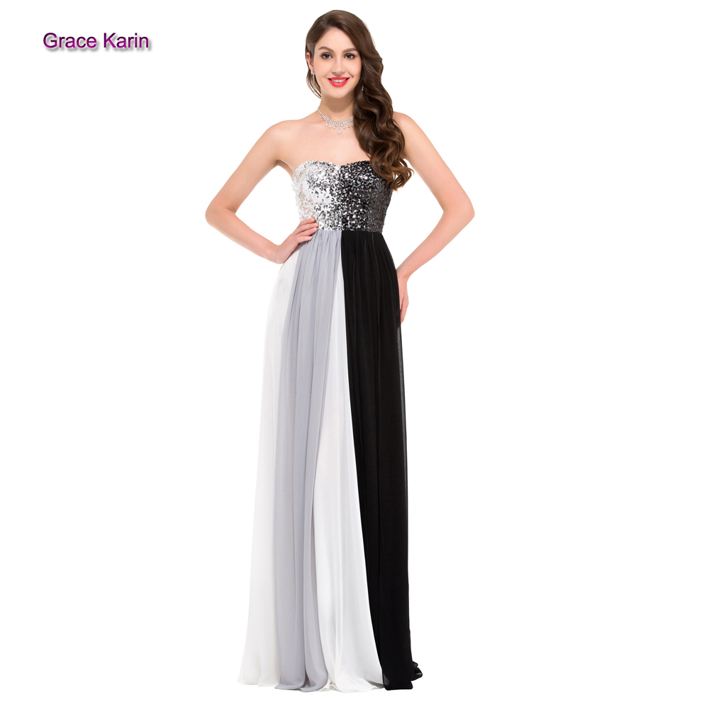 2015 Autumn Sexy Strapless Gradient colorful chiffon long black white beadings evening gown dresses sweetheart zipper back GK008(China (Mainland))