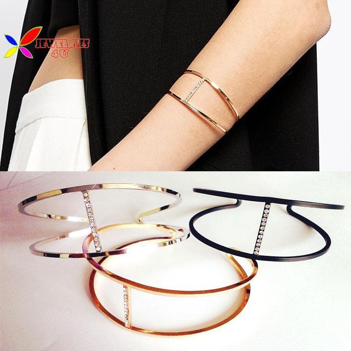 2015 fashion designer rock & roll gold silver black copper metal crystal cuff bangle bracelets for women pulseras de las mujeres(China (Mainland))