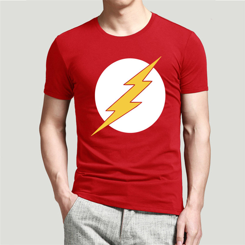 2016New Arrival The Big Bang Theory The Flash Men T Shirt Design Personalized Male Casual Tee Shirts Top Cotton t-shirts(China (Mainland))