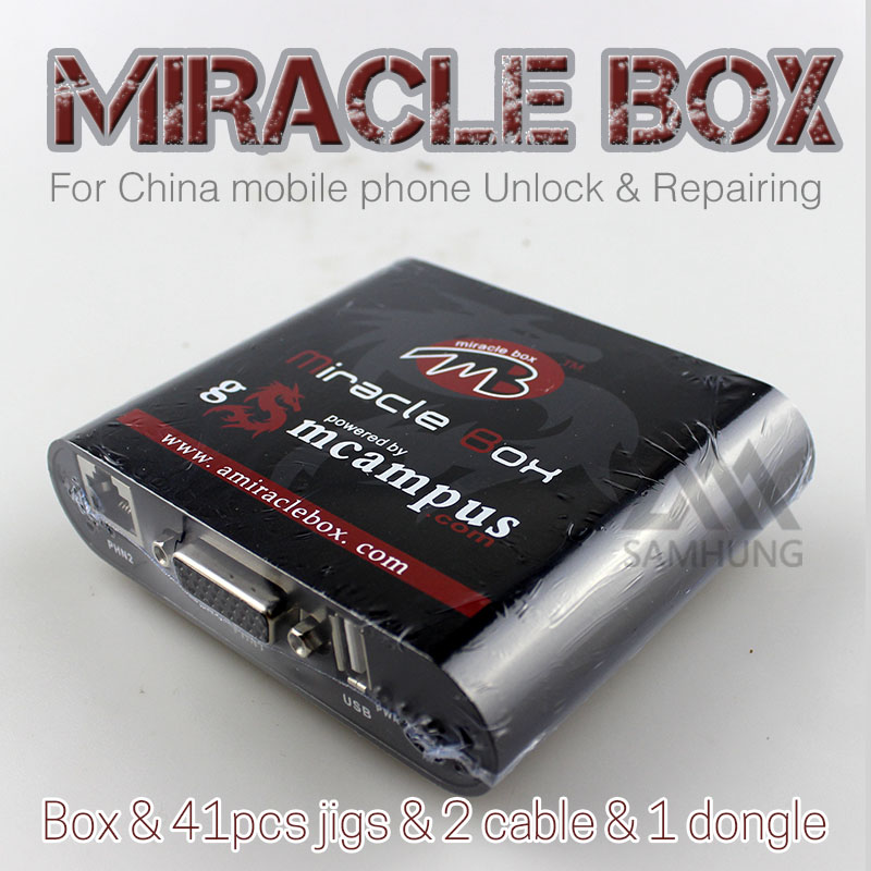 2016new original miracle box with key for china mobile phone unlock repairing box contain 41 jigs 2 cables software miracle team(China (Mainland))