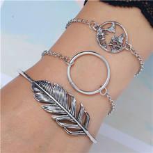 5 pièces/ensemble bohème or couleur lune feuille cristal opale ouvert Bracelet ensemble pour les femmes Punk Boho plage Bracelet bijoux cadeau(China)
