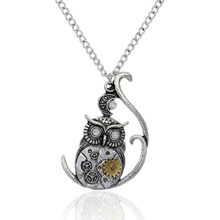 DoreenBeads Steampunk Necklace Link Curb Chain Antique Silver Halloween Owl Moon Gear Pendant With Clear Rhinestone 57.5cm, 1 PC(China (Mainland))