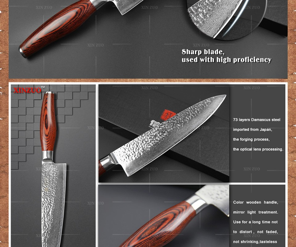 "Buy 2015 Newest 73 layers 8"" chef knife Japan Damascus steel kitchen knife with Color wood handle high quality sharp free shipping cheap"