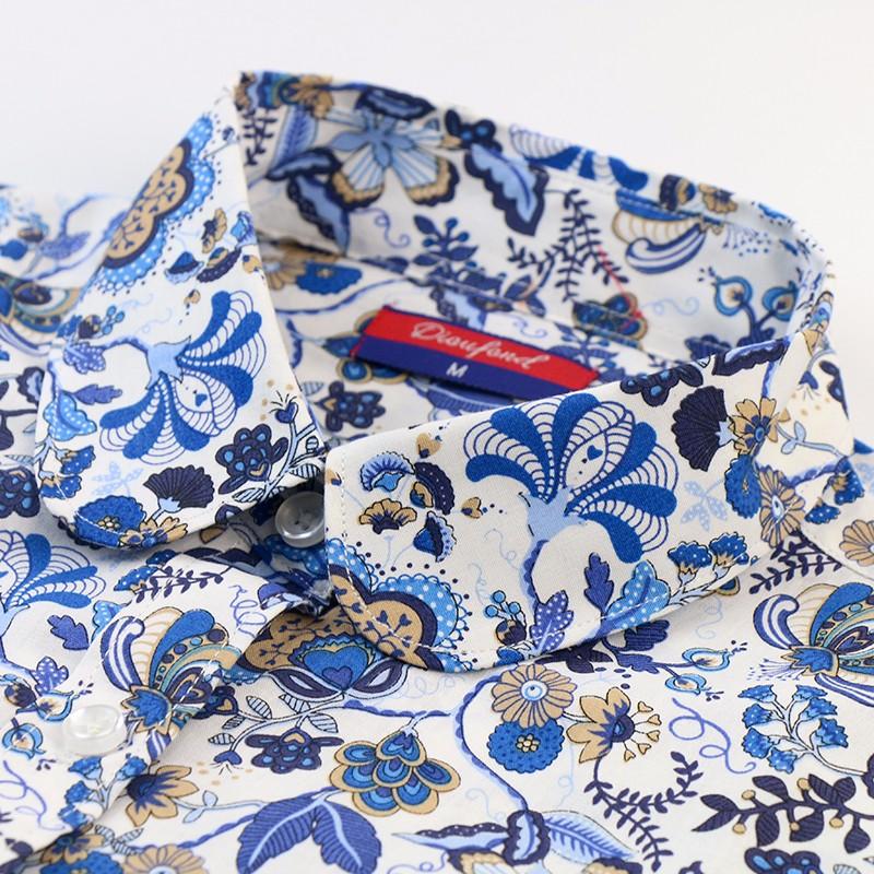 חדש S-3XL פרחונית חולצה בתוספת גודל עם שרוולים ארוכים מזדמנים נשים חולצות כותנה הצווארון להנמיך Blusas Feminina נשים לכל היותר כחול לבן