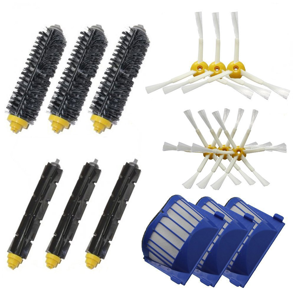 Aero Vac Filter & 6 Side Brushes & 3 Sets Hair Brush Kit for iRobot Roomba 600 Series 620 630 650 660 680 Vacuum Cleaning Robots(China (Mainland))