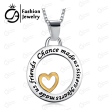 Fashion Chance Made Us Sisters,Heart Made Us Friends Two Tone Silver and Gold Pendant Necklace Gift Jewelry 20Pcs/Lot #LN942(China (Mainland))