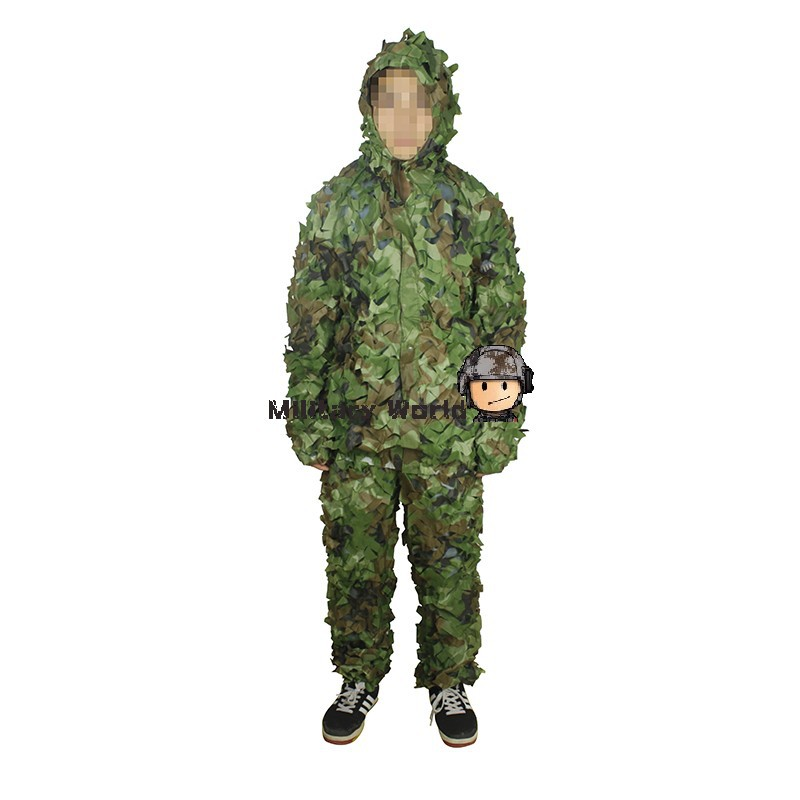Hunting Tactical Woodland Camo Disguise Sniper Archery Ghillie Suit Airsoft Military Light Weight Disguise Uniform Free Shipping