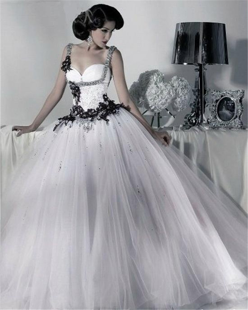 Black and white tulle ball gown wedding dresses straps for Wedding dresses that are white