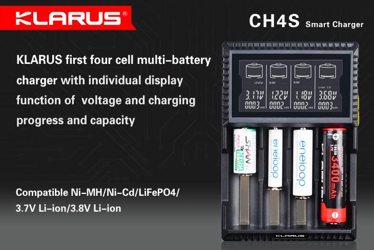 KLARUS CH4S charger Li-ion 26650 18650 16340 14500 10440 (RCR123A) and Ni-MH/Ni-Cd AA AAA AAAA C charger(China (Mainland))