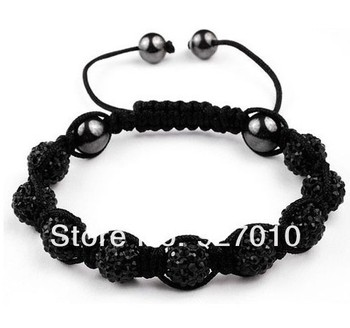 Min order is $10(mix order) Shamballa jewelry women Bracelets Micro Pave CZ Disco 10mm Ball Bead Shamballa Bracelet black