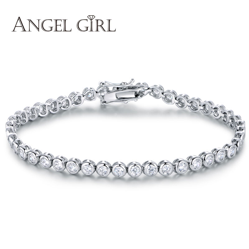 Angel girl 2016 fashion Women Luxury Platinum Plated Round Clear CZ Tennis Bracelets & Bangles for Elegant Party Jewelry(China (Mainland))