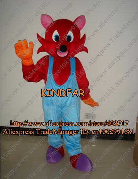 RED FOX IN BIB PANTS ADULT SIZE CARTOON MASCOT COSTUME Fancy Dress Outfit Suit No.2258 Free Shipping(China (Mainland))