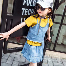 Buy SexeMara 2017 children summer new suit girls denim suit short sleeve T shirt denim skirt suit children summer 2 set for $17.59 in AliExpress store