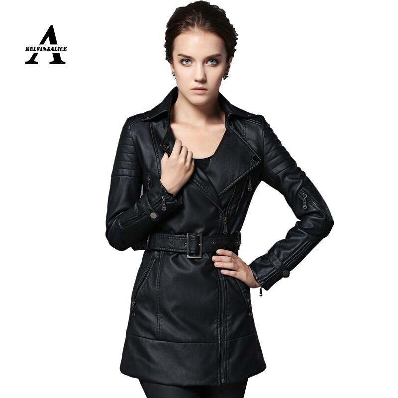 Plus Size Yellow Leather Jacket Women 2016 Spring Long Windbreaker Leather Coat Black Jaqueta Couro Jaqueta De Couro Feminina(China (Mainland))