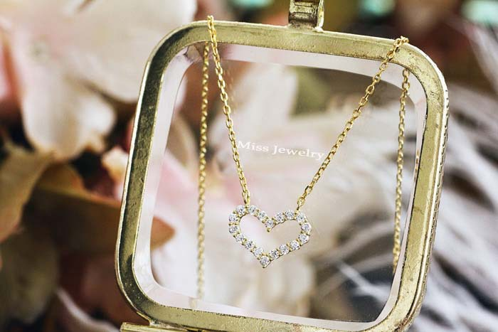 Eternal series white gold plated heart imported zircon clavicular Necklace Jewelry K14N090(China (Mainland))
