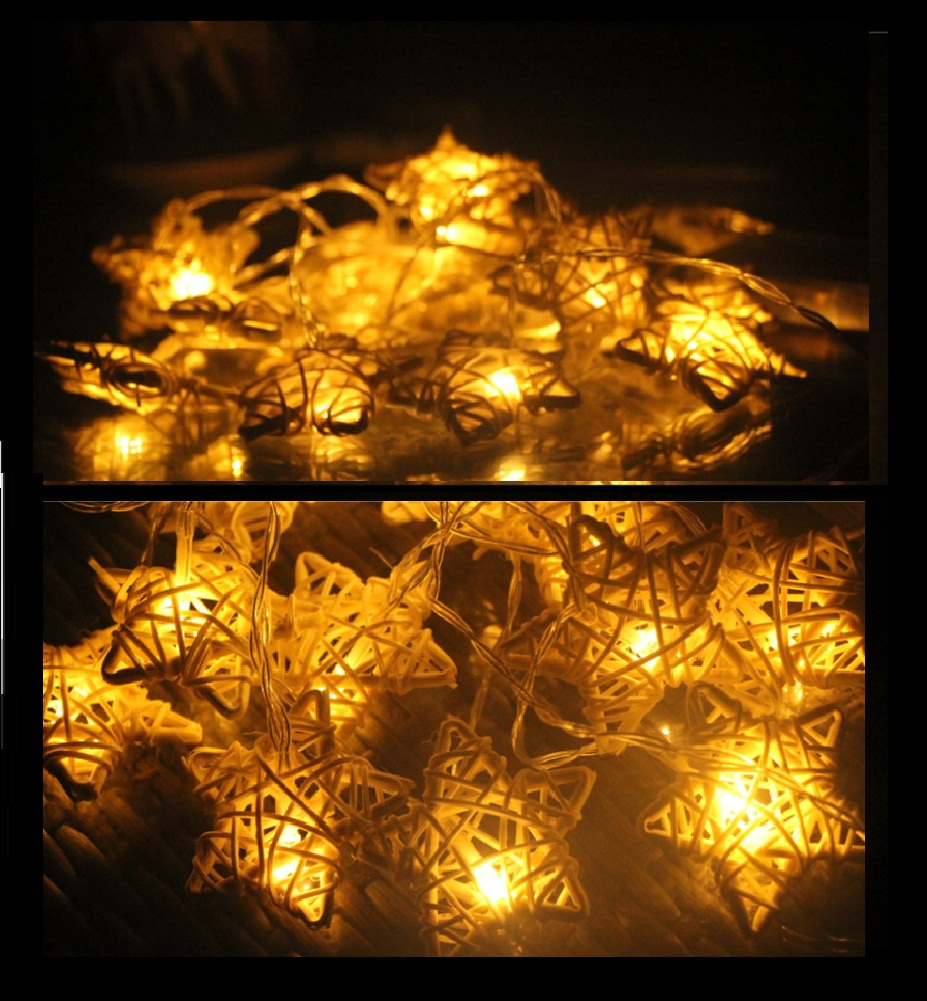 Natural Rattan Star String Lights Fairy Party Decor Wedding Bedroom Garden Spa Holiday Christmas Lighting(China (Mainland))