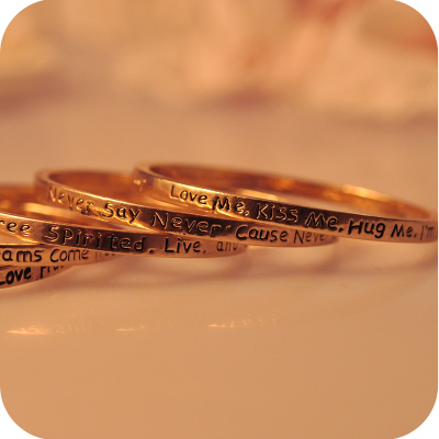Jewdy Gold Be Free Spirited Live Love and Laugh & Love Protection Luck Happiness Power Karma Bracelet Bracelets For Women(China (Mainland))