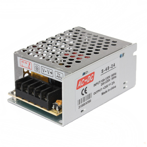 Newest AC 100V-240V to DC 24V 2A 48W Voltage Transformer Switch Power Supply for Led Strip Led Control Led Switch LED Display(China (Mainland))
