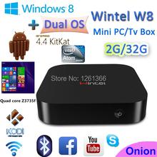 Wintel Win8 Mini PC 64Bit Intel Atom Z3735F Windows 8.1 mini pc android 4.4 tv Box Dual OS 2GB/32GB Portable For TV Phone Tablet(China (Mainland))