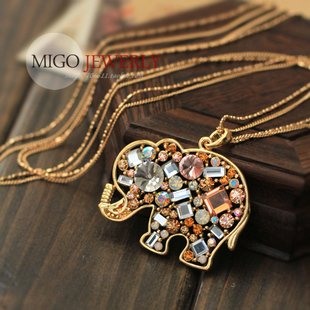 Min.order $15 (mix order)2016 Last fashion golden necklace chain,,Rhinestone elephant pendant women - Big Girl Fashion Factory store