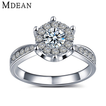 MDEAN White gold filled rings for women CZ diamond jewelry wedding bijoux engagement bague trendy accessories top quality MSR093(China (Mainland))