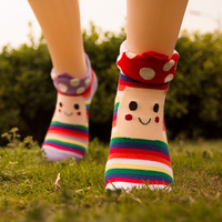 12pairs/lot free shipping socks roll up hem mushroom socks smiley cartoon cotton socks sock