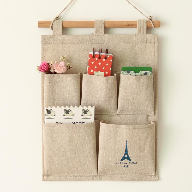 New Brand Home Decorating 5 Grid Sundries Storage Bags Retro Style Organizer Hanging Bags Jute Wall Pocket(China (Mainland))
