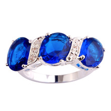 Wholesale Suitable For Any Occasion Sapphire Quartz  & White Sapphire 925 Silver Ring Size 7 8 9