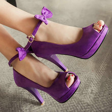 2015 New arrive women pumps sweet bowtie dress wedding shoes high heel platform shoes black purple wine red size 34-43(China (Mainland))