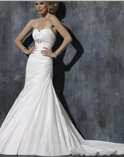 Free shipping cost ! 2011 best quality and hotest selling satin and lace applique wedding dress (xy0061)(China (Mainland))