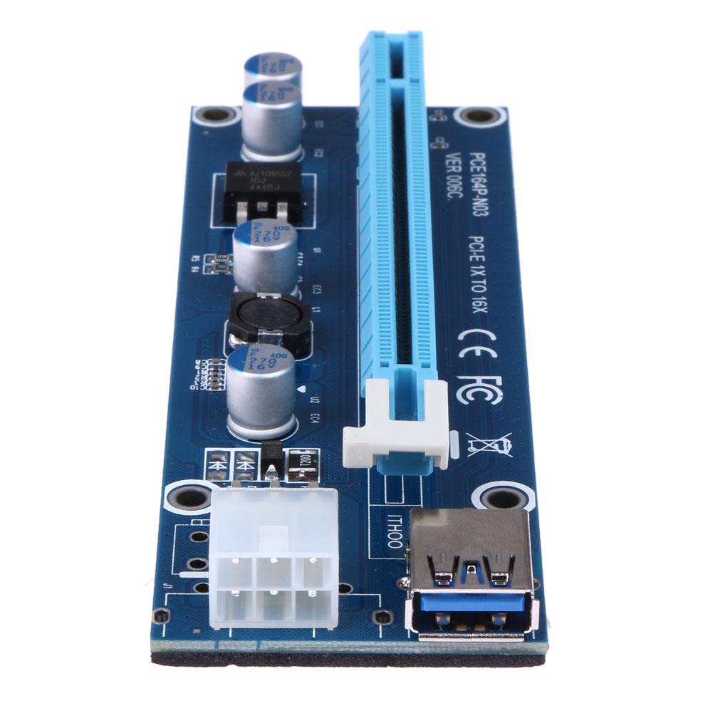 40cm USB 3.0 Mini PCI-E to PCI-E PCI Express 1x to 16x Extender Riser Card Adapter SATA 6Pin Power Cable for Bitcoin Mining