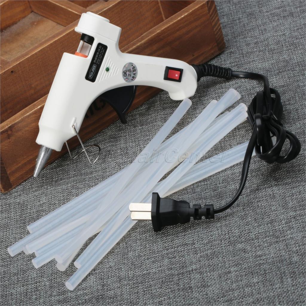 Гаджет  1PC White Craft Repair Tool US Plug 100-220V 20W Electric Heating Hot Melt Glue Gun Sticks Trigger for 7.0mm Glue Stick Art Tool None Инструменты