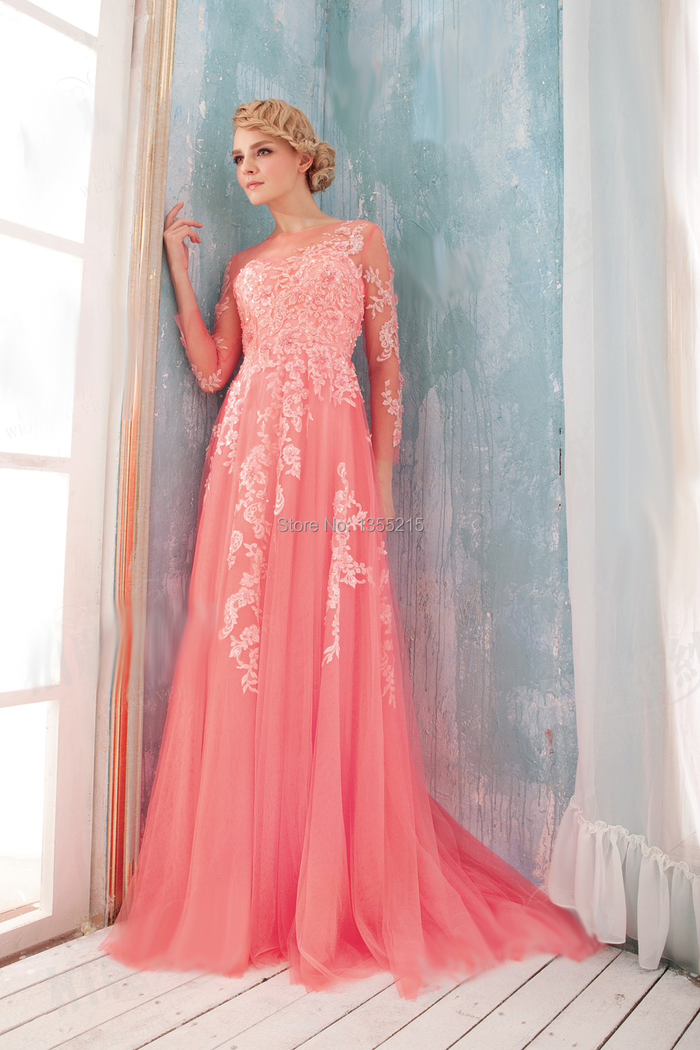Custom long sleeve formal dresses coral prom dress elegant for Long elegant dresses for weddings