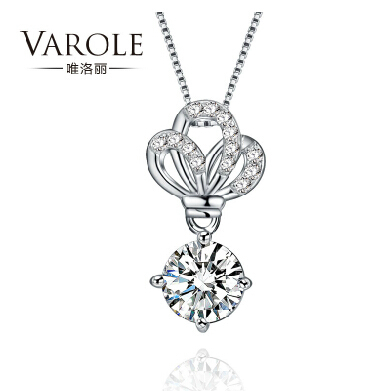 VAROLE 2015 Imperial crown Pendant Women Necklace Sterling Silver Platinum plated OL Style A GOOD GIFT New Fashion Bijoux(China (Mainland))