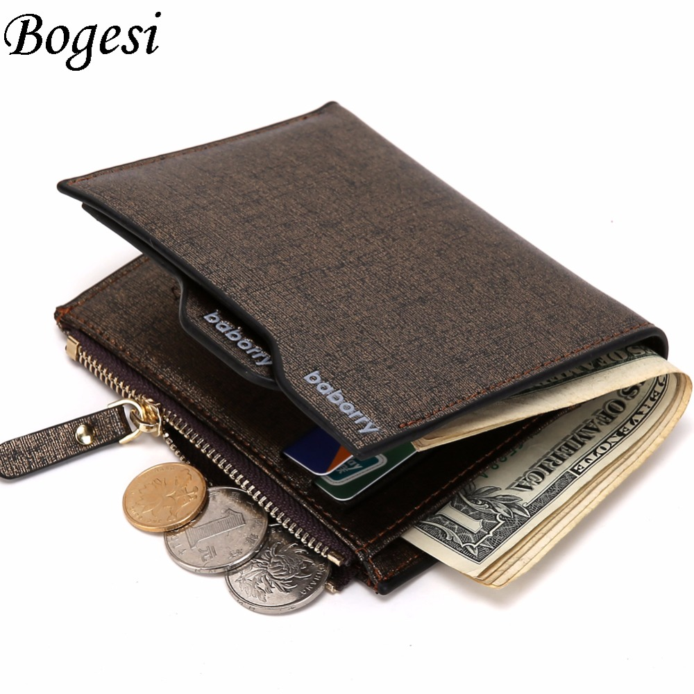 2016 Hot Fashion men wallets Bifold Wallet ID Card holder Coin Purse Pockets Clutch with zipper Men Wallet With Coin Bag Gift(China (Mainland))