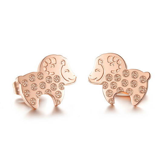 Trendy Little Sheep Earrings 18K Rose gold plated Stainless Steel Sheep stud earrings for woman(China (Mainland))